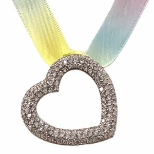 PUFFY STERLING SILVER OPEN HEART & CRYSTAL PENDANT